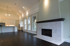 Expensive studio apartment. Or living area of home with fireplace Royalty Free Stock Image