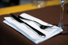 Expensive table set in restaurant, shallow dof Stock Photo