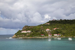 Expensive villas and boats at St. Jean Bay at St Barts, French West Indies Royalty Free Stock Photos