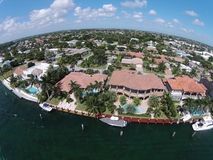 Expensive waterfront homes in Florida aerial Stock Photos
