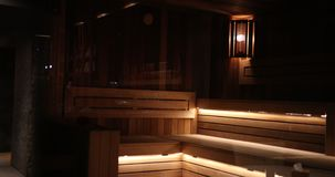 Expensive Wooden Sauna With Beautiful Illumination Of The Five Star Hotel. Prores, Slow Motion stock video