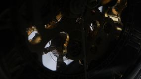 Expensive wrist watch mechanism in action. Close up stock footage