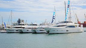 Expensive Yachts and Pleasure Boats Stock Image