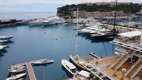 Expensive yachts in port, Mediterranean resort offers sea voyages to tourists. Stock footage stock footage
