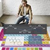 Experiência Atom Chemistry Concept da fórmula imagens de stock royalty free