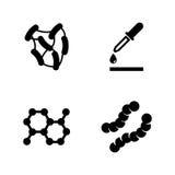 Experiência do laboratório do micróbio Ícones relacionados simples do vetor ilustração royalty free