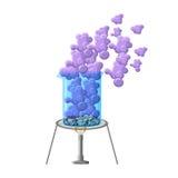 Experiência química que mostra a taça do aquecimento com cristais e fumo Sublimação do iodo Imagem de Stock Royalty Free