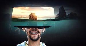 Experi?ncia da realidade virtual Tecnologias do futuro imagens de stock