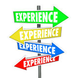 Experience Background Skills Education Know-How Arrow Signs. Experience word on several colored arrow signs to illustrate background, skills, education, know-how Stock Photos