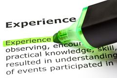Experience Dictionary Definition Green Marker. Dictionary definition of the word Experience highlighted with green text marker Stock Photo