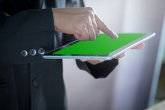 Experience entertainment anywhere, anytime, with the ample line. Of mobile tablets Stock Image