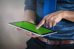 Experience entertainment anywhere, anytime, with the ample line. Of mobile tablets Royalty Free Stock Images