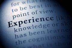 Experience. Fake Dictionary, Dictionary definition of the word Experience. including key descriptive words stock images
