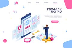 User Feedback Experience Choice Rating Concept. Experience, feedback to approve stars. Infographics of measurement, mark review of vote. Opinion, user choice stock illustration