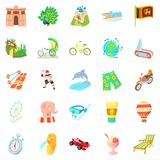 Experience icons set, cartoon style. Experience icons set. Cartoon set of 25 experience icons for web isolated on white background Royalty Free Stock Photography