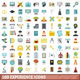 100 experience icons set, flat style Stock Photography