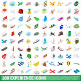 100 experience icons set, isometric 3d style. 100 experience icons set in isometric 3d style for any design vector illustration Royalty Free Stock Photography