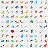 100 experience icons set, isometric 3d style. 100 experience icons set in isometric 3d style for any design vector illustration Royalty Free Stock Photos