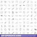 100 experience icons set, outline style. 100 experience icons set in outline style for any design vector illustration stock illustration
