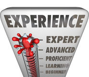Experience Measurement Expert to Novice Level. Experience measured by a thermometer or gauge evaluating a professional's level of expertise, from expert Stock Image