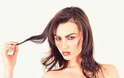 Experience natural hair styling products. Sexy woman with perfect makeup. Pretty woman wear long and wavy hair. Makeup. Model with beauty look. Hair or beauty royalty free stock photos