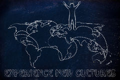 Experience new cultures: happy man on world map with visited pla Royalty Free Stock Images