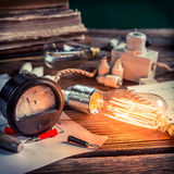 Experience in physics laboratory with bulb Stock Photos