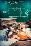 Experience in physics laboratory with bulb Royalty Free Stock Photos