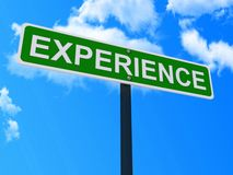 Experience sign. A sign with the word experience over a blue sky background stock illustration