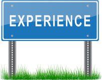 Experience Signpost. A blue signpost about experience on grass Royalty Free Stock Photography