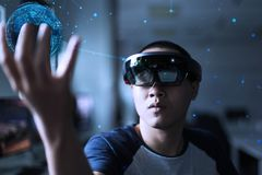Experience Virtual Reality world with hololens 1 royalty free stock photo