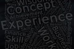 Experience ,Word cloud art on blackboard.  royalty free stock photos