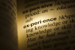 Experience. Word Experience in a dictionary royalty free stock images