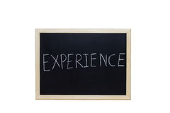 EXPERIENCE written with white chalk on blackboard Stock Photography