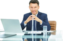 Experienced accountant working with financial documents in front Royalty Free Stock Image