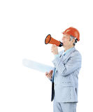 Experienced architect with drawings yelling at the top in the horn. Stock Photography
