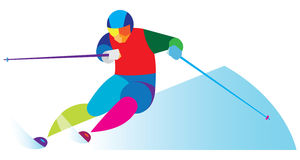 Experienced athlete competes in giant slalom. Experienced athlete competing on the track giant slalom Royalty Free Stock Photo