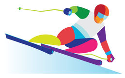 An experienced athlete is skier Stock Photography