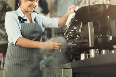 Experienced barista making coffee in professional coffee machine. Woman preparing beverage. Small business and professional coffee brewing concept royalty free stock photos
