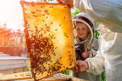 Experienced beekeeper grandfather teaches his grandson caring for bees. Apiculture. The transfer of experience. stock photo
