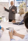 Experienced businessman training employees. Smiling experienced businessman training employees using whiteboard in office Royalty Free Stock Photography