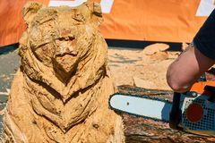 Experienced carpenter making a big wooden bear sculpture with a chainsaw. During a local competition close-up Stock Images
