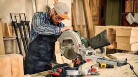 Experienced carpenter saw royalty free stock images
