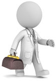 Experienced doctor. Dude the Doctor waling with retro doctors bag Royalty Free Stock Photography