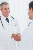 Experienced doctor welcoming his new coworker Royalty Free Stock Photos