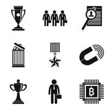 Experienced employee icons set, simple style. Experienced employee icons set. Simple set of 9 experienced employee vector icons for web isolated on white Stock Image