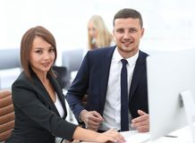 Experienced employees of the company during working hours. Photo with copy space Royalty Free Stock Photos