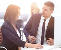 Experienced employees discussing business problems . Stock Photos