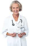 Experienced female medical professional. Senior female doctor in hospital, at duty stock image