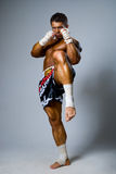 An experienced fighter kickboxer kick. full height Royalty Free Stock Photography
